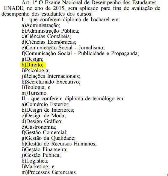 Cursos de Bacharelado obrigados a prestarem o ENADE  (Exame Nacional de Desempenho de Estudantes)
