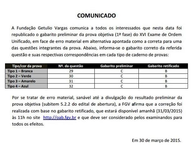 Comunicado da FGV alterando o Gabarito Preliminar da 1ª fase XVI Exame de Ordem