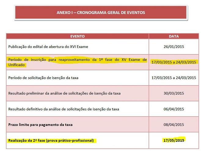 Cronograma Edital Repescagem XVI Exame de Ordem