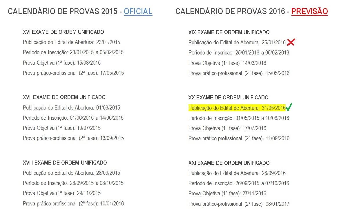 Previsão de calendário de provas para 2016 e o novo CPC