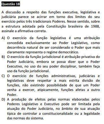 Questão 18 da Prova Branca - Direito Constitucional - Passível Anulação - 1ª fase do XVII Exame de Ordem