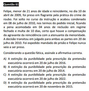 Questão passível de anulação XVI Exame da OAB - Direito Penal