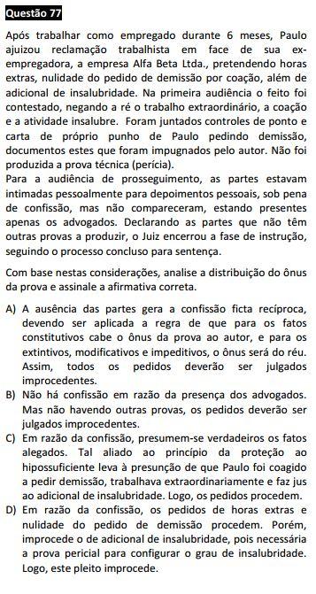 Questão passível de anulação XI Exame da OAB - Processo do Trabalho